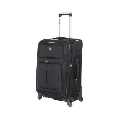 SwissGear Black 25- inch Lightweight Sofside Spinner Suitcase