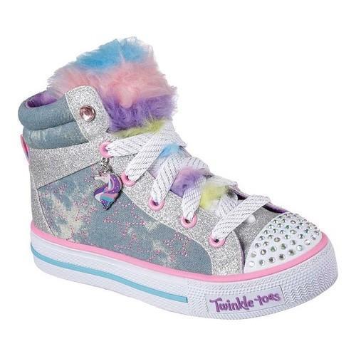 c7c0a40479 Girls' Skechers Twinkle Toes Shuffles Unicorn Cute High Top Light  Denim/Multi