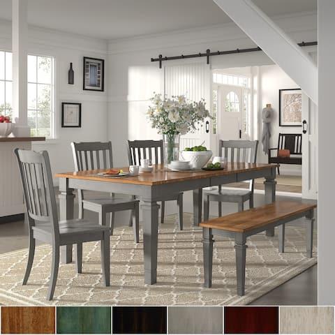 Elena Antique Grey Extendable Rectangular Dining Set - Slat Back by iNSPIRE Q Classic
