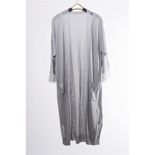 Fashion Diva Soft Sheer Lightweight Open Front Kimono Cargiagn Tunic Beach Coverup Lace Trim and Pockets in Front