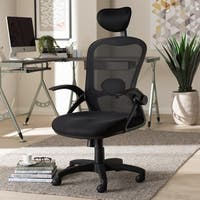Contemporary Ergonomic Black Mesh Office Chair by Baxton Studio