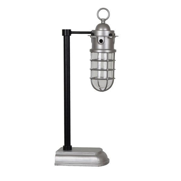 Industrial Black and Antique Silver 24-inch Task Lamp