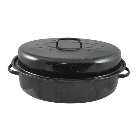 Home Basics Black Carbon Steel 15.25-inch Roaster with Lid