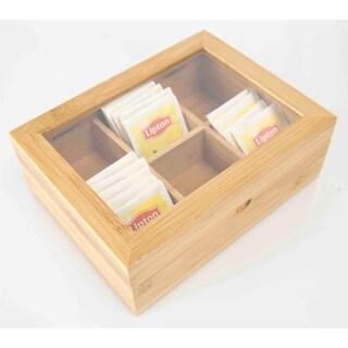 Home Basics Natural Bamboo Tea Box
