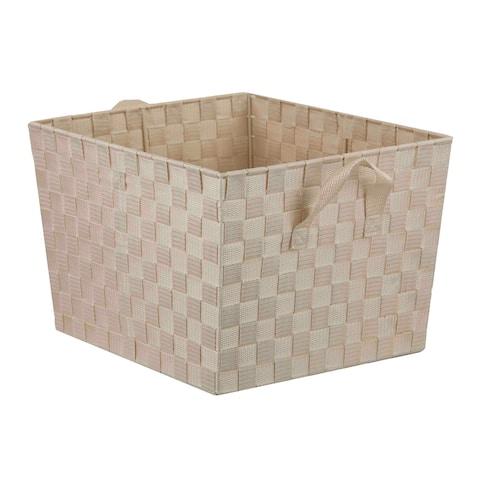 Home Basics Polyester Woven Open Strap Bin
