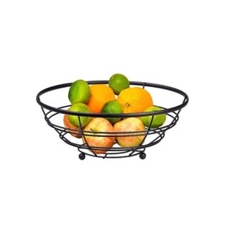 Home Basics Black Flat Wire Fruit Bowl