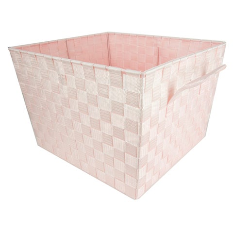 Home Basics Pink Non-woven Strap Handle Basket Bin