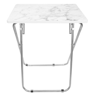 Home Basics Grey and White Marble Multi-purpose Foldable Table