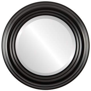 Regalia Framed Round Mirror in Matte Black