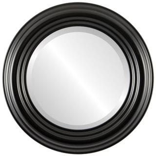 Regalia Framed Round Mirror in Matte Black