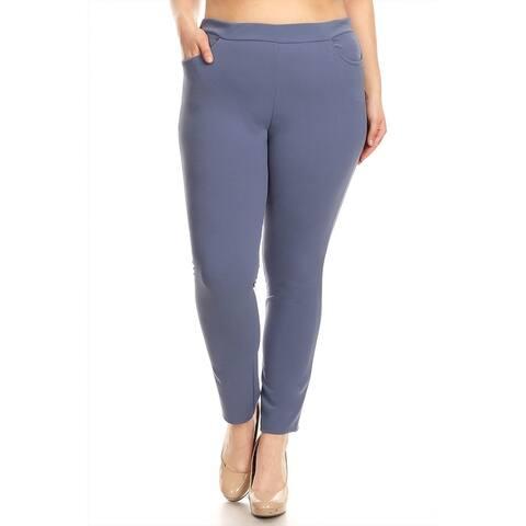 Women's Plus Size Solid Slim Fit Pants
