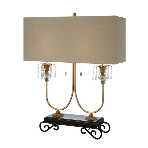 Adriana Gold Leaf and Black 33.5-inch Table Lamp