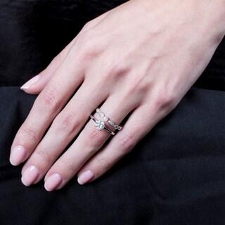 Certified 14K White Gold 1ct TDW Diamonds Engagement Bridal Set (SI1-SI2)