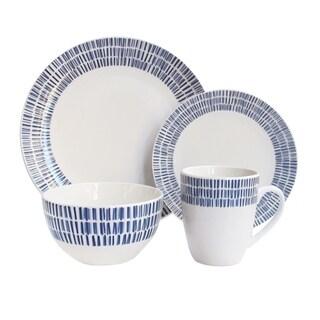 rhythm white/bl 16 pc dinnerware set