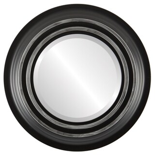 Imperial Framed Round Mirror in Matte Black with Silver