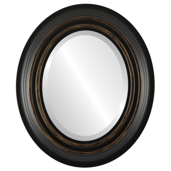 Imperial Framed Oval Mirror in Matte Black with Gold