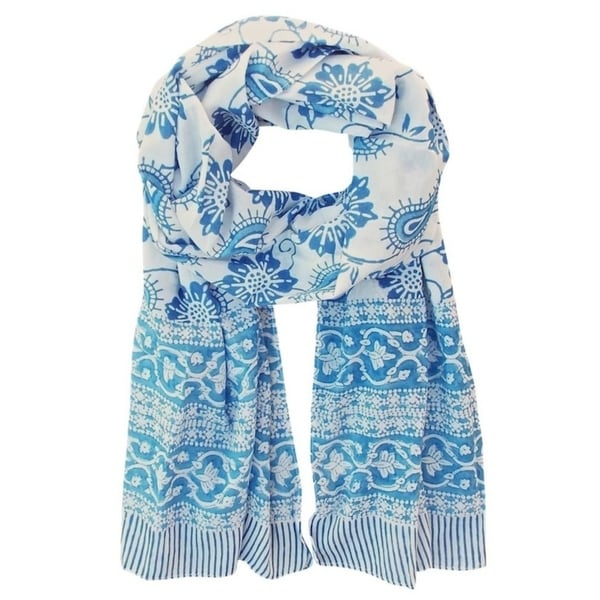 Handmade Floral Blue and White Soft Cotton Block Printed Scarf- Fair Trade (India)