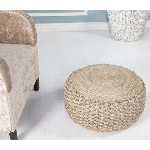 "LR Home Criss Knit Hemp Natural Braided Jute Pouf Ottoman (10"" x 20"")"