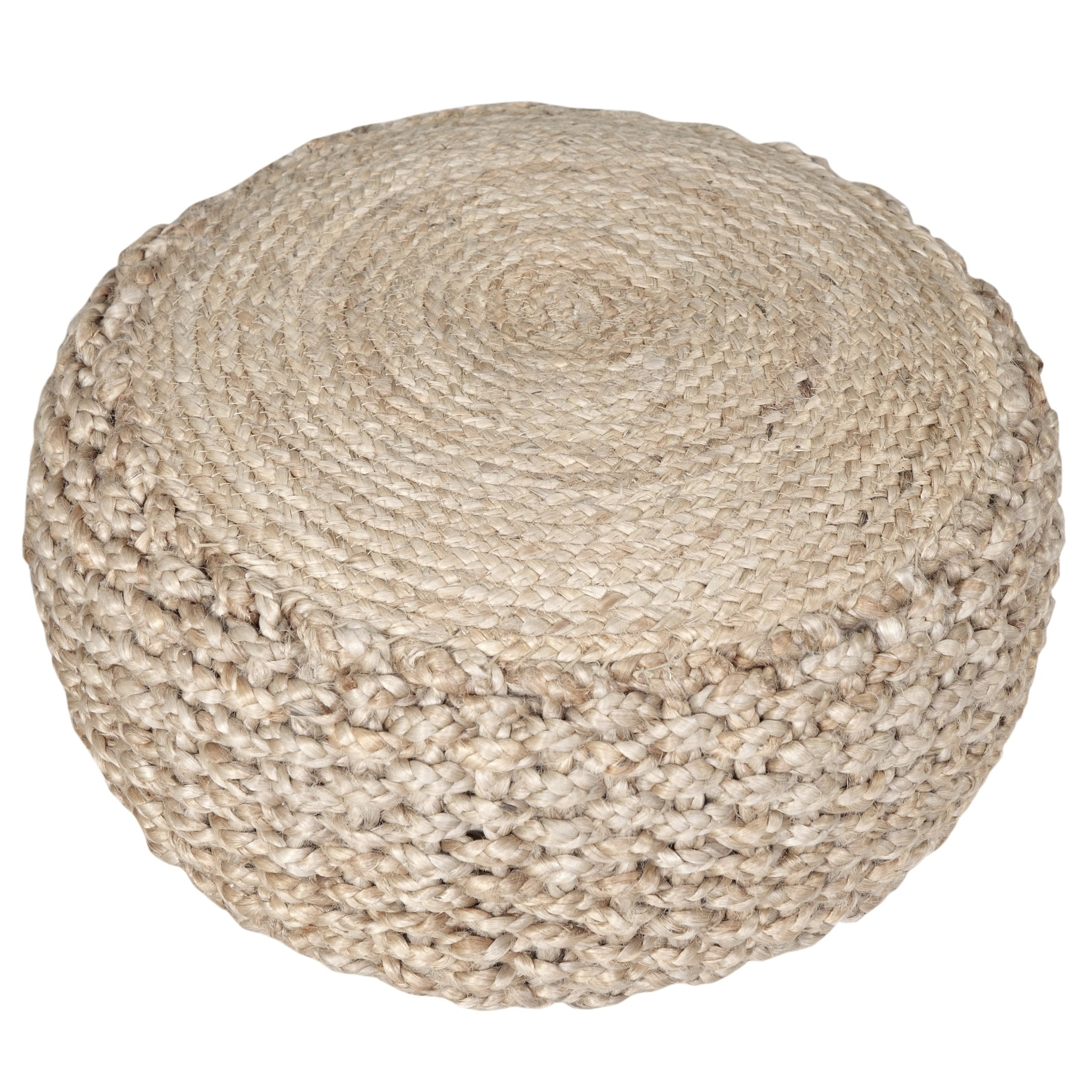 Hand Knitted Decorative Round Cotton Pouf 14 Inch X 20 Inch X 20 Inch Braid Cord Textured Round Foot Home Decorative Perfect Patio Seating Gold