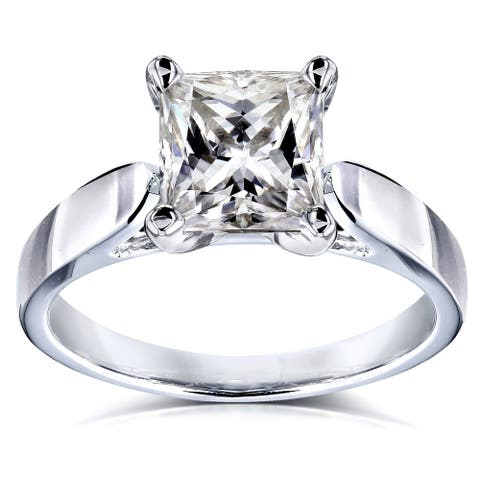 Annello by Kobelli 14k Gold 1 1/2 Carat Princess Moissanite Solitaire Peg Head Cathedral Engagement Ring