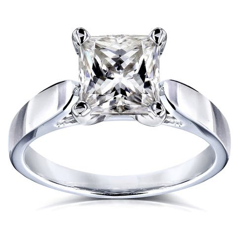 Annello by Kobelli 14k Gold 1 1/2 Carat Princess Classic Moissanite Solitaire Cathedral Engagement Ring (GH/VS)