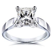 Annello by Kobelli 14k White Gold 1 1/2 Carat Princess Moissanite Solitaire Peg Head Cathedral Engagement Ring