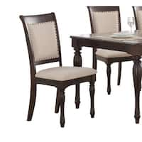 Home Source Penelope Cherry Side Chairs with Tufted Seats, Set of 2