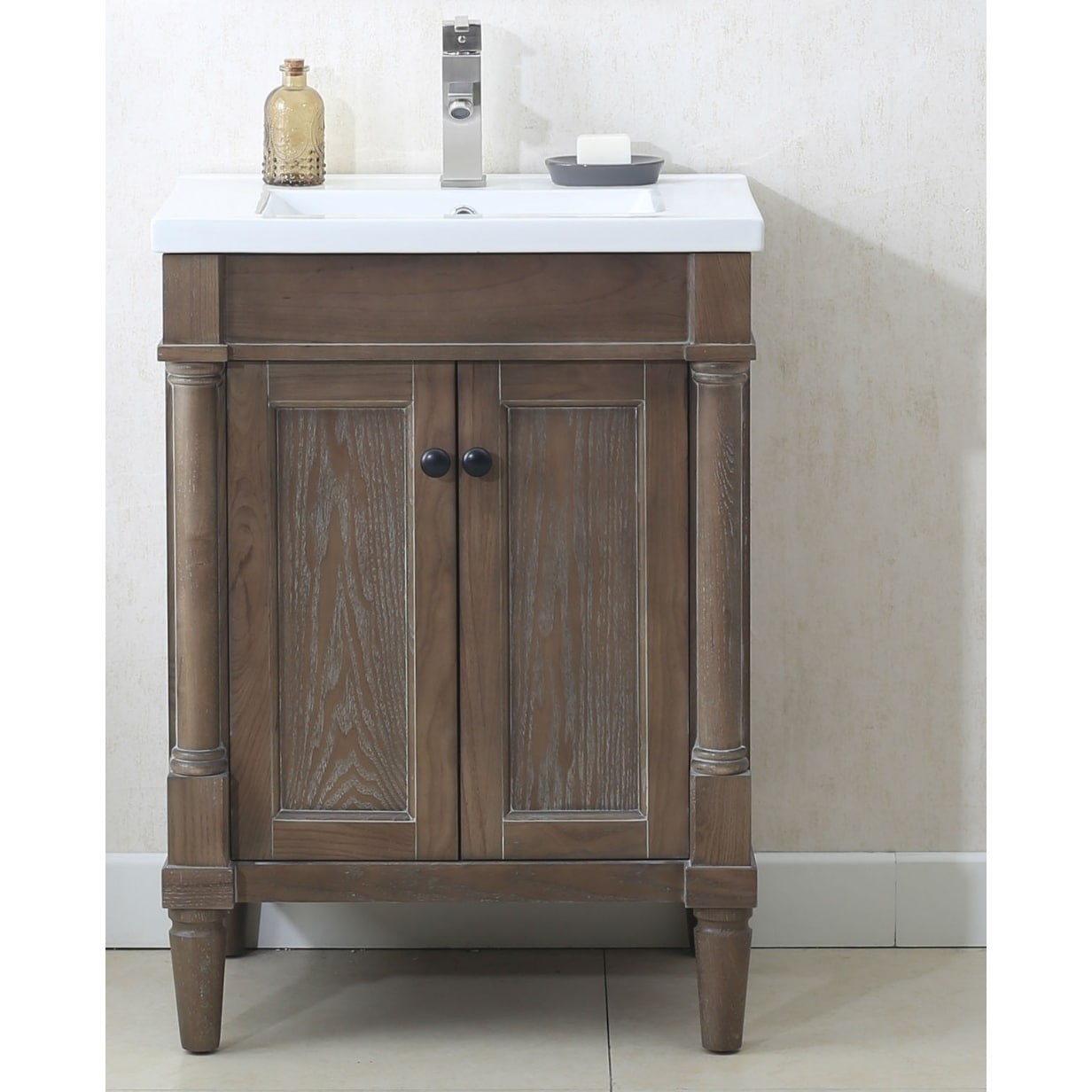 Bathroom Vanity In Weathered Gray With Porcelain Top