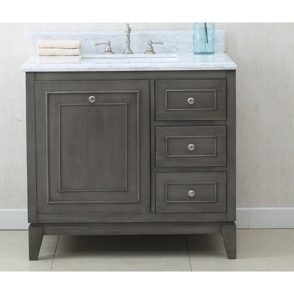 W Bathroom Vanity In Silver Gray With Marble Top   Free Shipping Today    Overstock   20600966