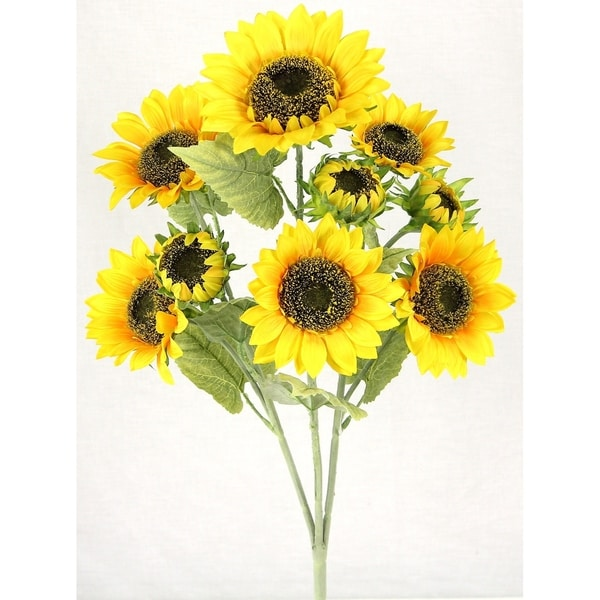 3 Stems Atrtificial Blooms Sunflower Decoration Arrangement, Gold