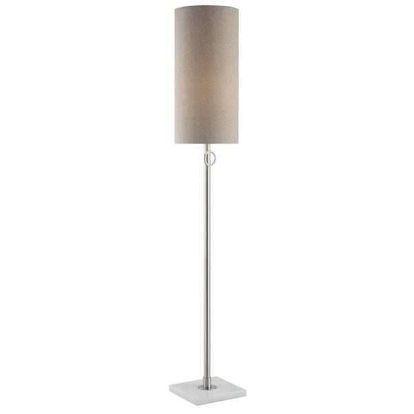 Arte Brushed Nickel and White Marble 60-inch Floor Lamp