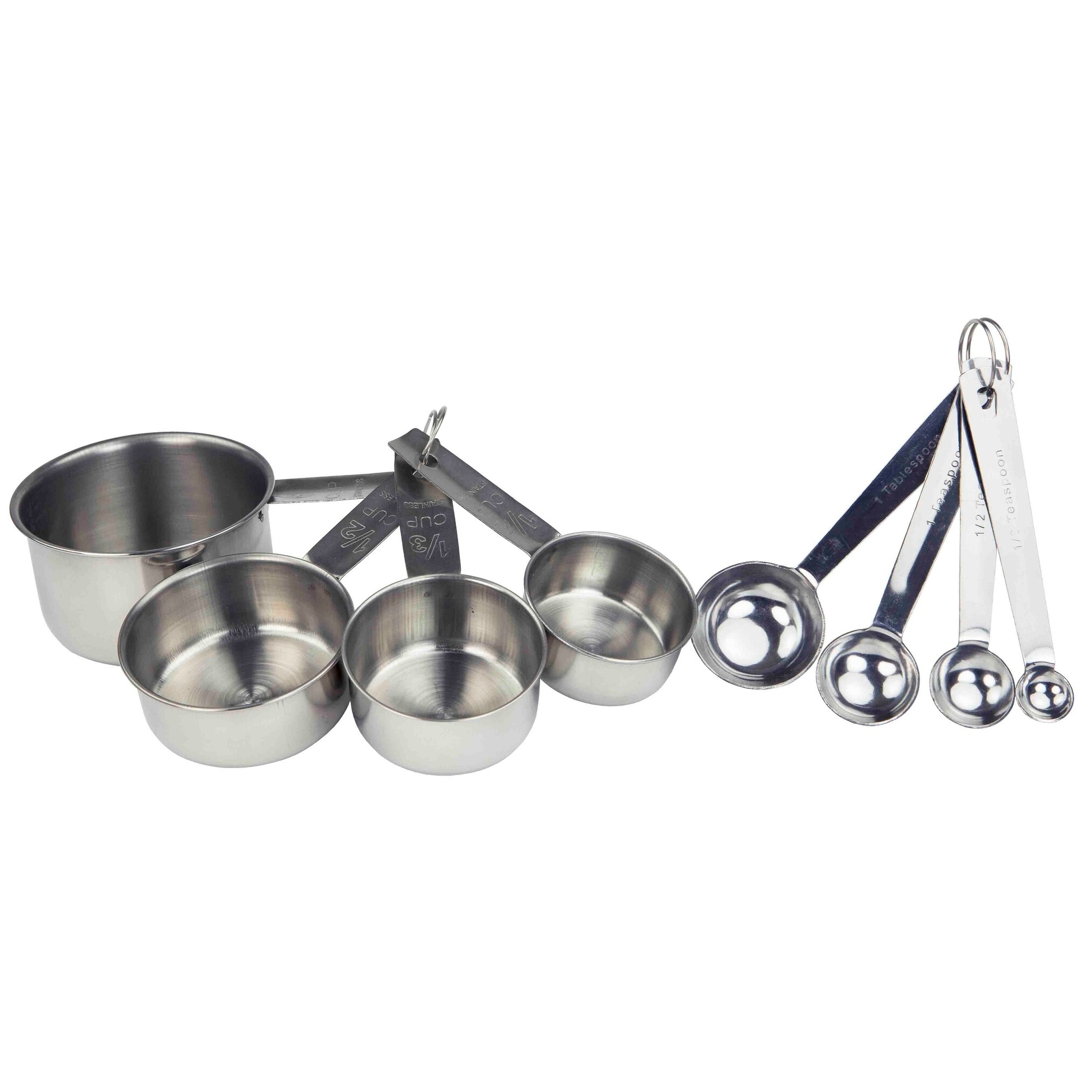 Stainless Steel Measuring Cups 8 Piece Heavy Duty Measuring Cups Set in 18//8 Steel with Ergonomic Handle