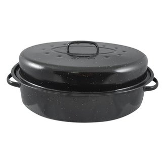 Home Basics Black Carbon Steel 17.5-inch Roaster with Lid