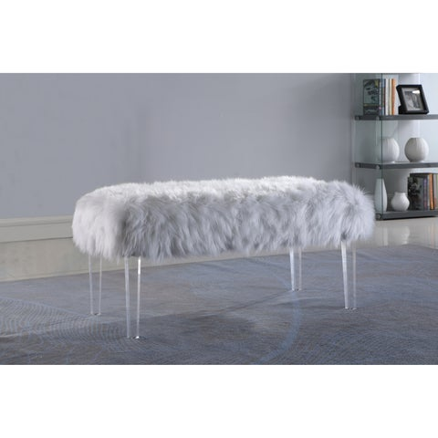 Best Quality Furniture Faux Fur Acrylic Accent Bench
