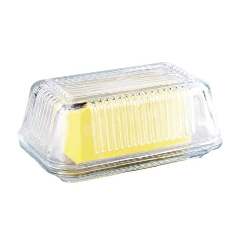 Home Basics Clear Glass Butter Dish