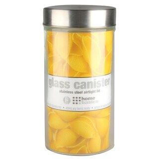 Home Basics Glass Round Canister with Steel Lid