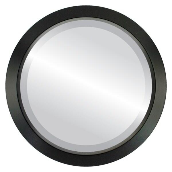 Regatta Framed Round Mirror in Matte Black