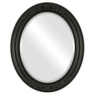 Florence Framed Oval Mirror in Matte Black