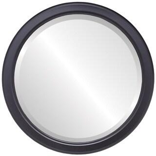 Toronto Framed Round Mirror in Matte Black