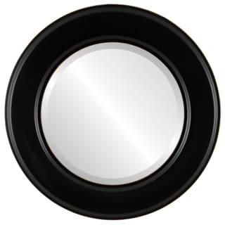 Marquis Framed Round Mirror in Matte Black