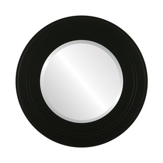 Palomar Framed Round Mirror in Matte Black