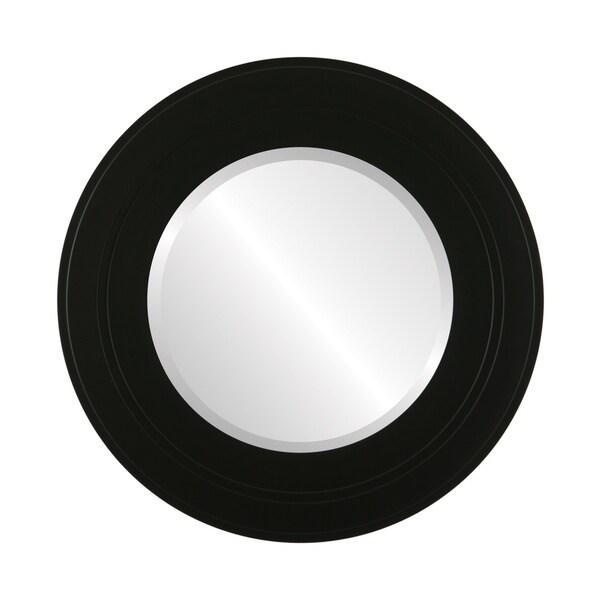 Palomar Framed Round Mirror in Matte Black