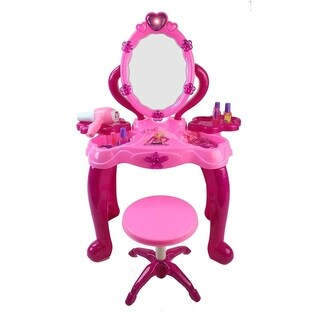 Play At Home Battery Operated Toy Vanity Mirror Dresser Playset