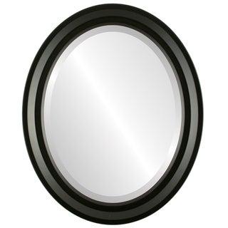 Newport Framed Oval Mirror in Matte Black