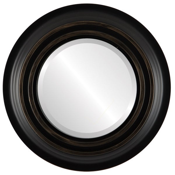 Imperial Framed Round Mirror in Matte Black with Gold