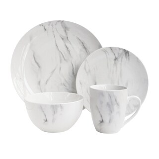marble wh/gray 16pc dinnerware set