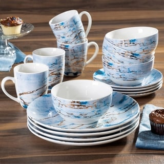 American Atelier Marble Blue/Gold Porcelain16-Piece Dinnerware Set