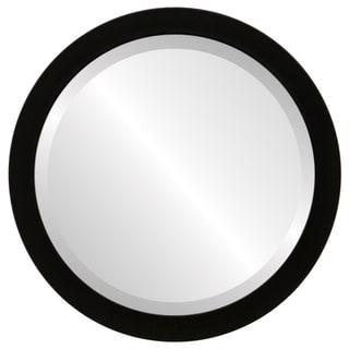 Manhattan Framed Round Mirror in Matte Black