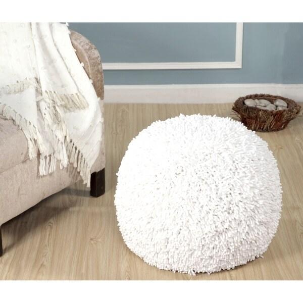 LR Home Dandelion Breeze Shaggy Pouf Ottoman 16X