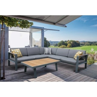 Armen Living Nofi Outdoor PatioSectional Set in Charcoal Finish with Gray Cushions and Teak Wood